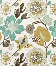 Braemore Gorgeous Pearl floral fabric in turquoise blue, gray and gold tones. Beautiful for bedroom or living drapery Green Fabric, Floral Fabric, Ikat Fabric, Chair Fabric, Coastal Fabric, Cotton Fabric, Pillow Fabric, Floral Prints, Decoracion Vintage Chic