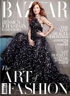 Jessica Chastain Capa da Harper's Bazaar UK por David Slijper