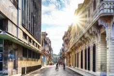 Sunset on the streets in Havana Cuba
