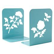 Kids Desk Accessories: Kids Aqua Metal Leaf Bookends in Bookends