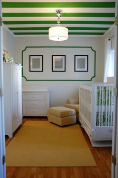 Green & white Kate Spade inspired nursery room.  Look at the fun ceiling!