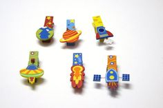space bookmarks, Space clips, kids bookmark clip, outer space theme party, space party favors, planets birthday party, kids art holder