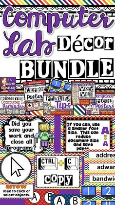 Decorate your computer lab or IT classroom in style with this BUNDLE of décor items. This bright and cheerful bundle works well for a lab. Save and get 5 awesome files at once! This bundle also includes bonus computer numbers to decorate your lab. Computer Lab Decor, Computer Teacher, Computer Lessons, Computer Class, Computer Technology, Computer Science, Digital Technology, Teaching Computers, School Computers