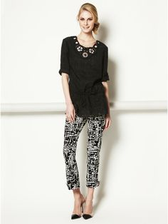 WBW black and white pants with black tunic.  I love this as a Friday, jeans day alternative.