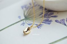 Coffee bean pendant necklace in gold Coffee necklace by Brillants