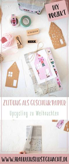 Pinterest_Pin-Weihanchtsverpackung_mit_Zeitung Diy Hacks, Mistletoe, Upcycle, Christmas, Projects, Diy, Present Wrapping, Newspaper, Upcycling Ideas