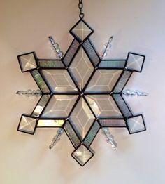 9 Swarovski Snowflake [9Swarovski Snowflake] - $119.50 : Adirondack Stained Glass Works, made in the Adirondacks USA