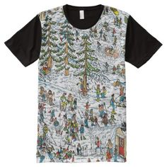 Where's Waldo Ski Slopes All-over-print T-shirt, Men's, Size: Small, Pale Blue / Floral White Wo Ist Waldo, Wheres Wally, Ski Slopes, Stylish Shirts, S Shirt, Unique Fashion, Rainbow Colors, Childrens Books, Skiing