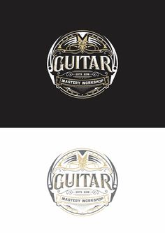 Logo by ottanak for Guitar Master Workshop, an online course teaching rock instruments. This design uses vintage typography within an ornately ornamental seal. #internet #branding #logo