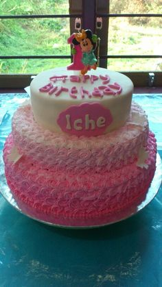 3 Tier pink ombre cake