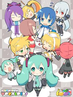 Vocaloid and one UTAU chibi Vocaloid Kaito, Vocaloid Funny, Kagamine Rin And Len, Anime Chibi, Anime Art, Vocaloid Characters, Chibi Characters, Kaai Yuki, Sailor Moon