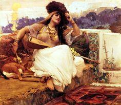 Algérie  -  Peintre American  Frederick Arthur Bridgman(1847-1928), huile sur toile 1880 , Titre :  Indolence