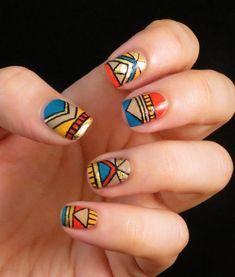 multi color nail art - Google Search