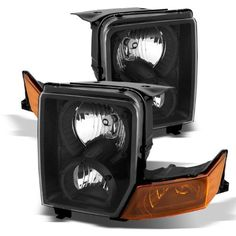 For 06-10 Jeep Commander Stock Style Black/Amber Crystal Headlights Lamps
