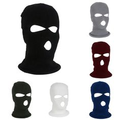 Outdoor Sport Full Face Cover Mask Three 3 Hole Balaclava Knit Hat Winter  Stretch Snow Mask Thermal Warm Knitting Wool Face Mask Review b2fd5a99d540