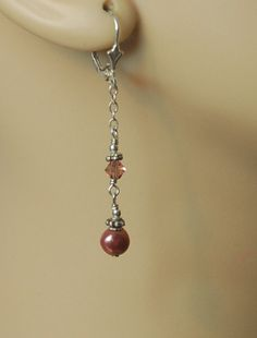 Beaded Earrings, Drop Earrings, Belly Button Rings, Swarovski Crystals, Dangles, Pearls, Sterling Silver, Rose, Jewelry
