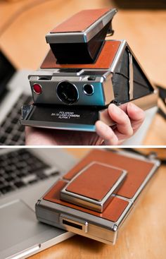Slim Polaroid camera circa 1972. They were big and awkward and required special…