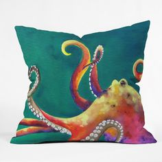 DENY Designs Clara Nilles Mardi Gras Octopus Indoor / Outdoor Polyester Throw Pillow