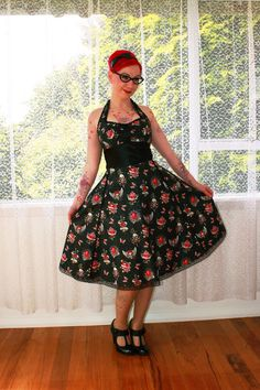 BRIDAL PARTY FASHION   Red Skull Pin up Dress 'Araminta'  in a Full Skirted 1950s, Rockabilly, Psychobilly, Pin up Style with Ric Rac and Bows - custom made to fit. $140.00, via Etsy.