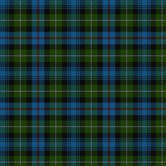 """+~+~ MacKenzie Tartan ~+~+ From the Gaelic """"Maccoinneach"""" meaning """"fair, bright one"""" The MacKenzie clan were resolute in their loyalty to the Stewart monarchy, and were rewarded for this when they were created Earls of Seaforth. The striking blue, black and green MacKenzie is the regimental tartan of the Seaforth Highlanders."""
