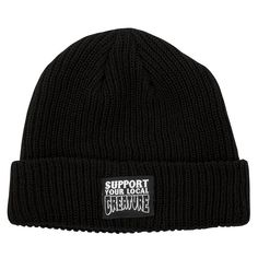 Creature Support Your Local Beanie Long Shoreman Hat Creature Skateboards, Knit Beanie, Rib Knit, Creatures, Knitting, Hats, Black, Tricot, Hat