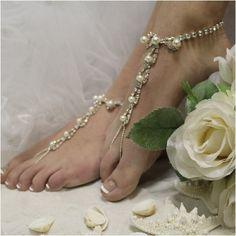 PARISIAN barefoot sandals wedding - silver -  pearls - paris  - beach