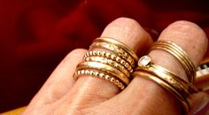 Six Stacking Gold Rings 14K GF Rings Set by VenexiaJewelry