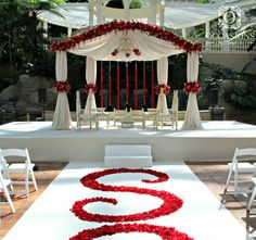 Red and Taupe Mandap - Indian Wedding Mandaps | Event Decorators : Occasions By Shangri-la #OBSevents