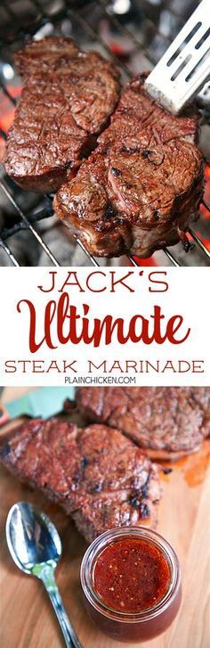 Jack's Ultimate Steak Marinade - steaks marinated in red wine chili sauce red wine vinegar Worcestershire sauce onion garlic salt pepper and a bay leaf. This marinade is seriously delicious! Our new go-to marinade. TONS of great flavor! Steak Marinade Recipes, Marinated Steak, Grilling Recipes, Meat Recipes, Cooking Recipes, Steak Marinades, Meat Marinade, Bbq Steak, Steak Rubs