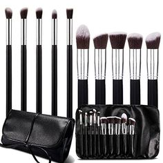 BeautyKate 10 Piece Premium Wood Kabuki Makeup Brush Set Cosmetics Brushes With PU Leather Case Black ** To view further for this item, visit the image link. (Note:Amazon affiliate link)