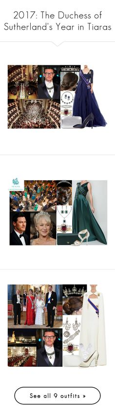 """""""2017: The Duchess of Sutherland's Year in Tiaras"""" by marywindsor ❤ liked on Polyvore featuring Yves Salomon, Monique Lhuillier, Alexander McQueen, Charlotte Olympia, Prada, tiara, jewelry, Safiyaa, Tiffany & Co. and tiaras"""