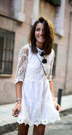 White lace dress look fashion, fashion beauty, womens fashion, fashion tr. Looks Street Style, Looks Style, Mesh Dress, Dress Up, Skater Dress, Dress Lace, White Lace, White Dress, Cute Dresses