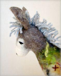 needle felted donkey puppet $38.00