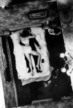 Helmut Newton, Self-portrait with model, Hotel Bijou, Paris, 1973.