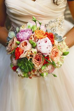 Orange, Pink and Green Bridal Bouquet