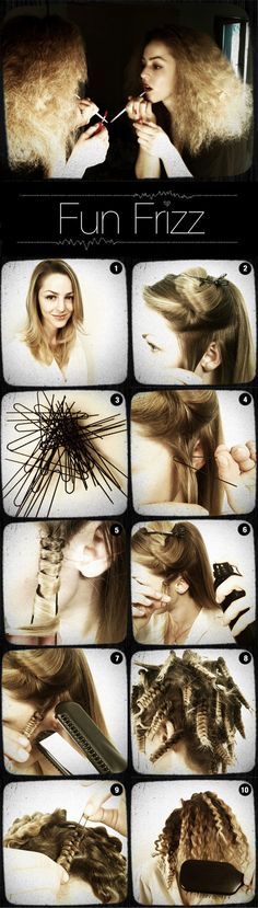 How to use bobby pins and a flat iron to crimp your hair.
