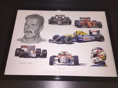 Framed Tribute to Nigel Mansell by Stuart McIntyre Mclaren/Williams/Lotus/Ferrar