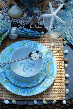 I'm lakeside enjoying a little seaside dining with Pfaltzgraff Seaside Dinnerware. Pfaltzgraff's Seaside brings the color palette of the sun, sand, and sea to the table.  Shells, starfi…