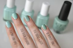 Essie Fashion Playground compare Essie: Mint candy apple, Fashion playground, Turquoise and Caicos, and