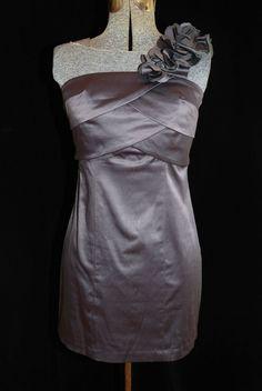 Trixxi Size 3 XXS Satin Party Dress Formal Bombshell One Shoulder Floral Detail #Trixxi #Shortpartydress #Formal