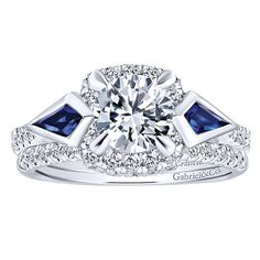 Allegra 14k White Gold Round 3 Stones Halo Engagement Ring angle 4