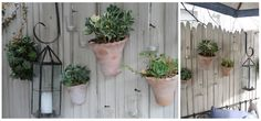 FLOWER POTS ON A FENCE   The Willows Home & Garden: laurie's charming cottage