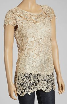 Gold Crochet Lace Top