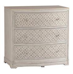 Pamela Antique White Diamond 3 Drawer Marble Wood Dresser