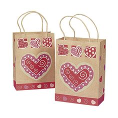 12 VALENTINE HEART Gift Bags w/JUTE Cord Handles/LOVE/Sweetheart/Holiday/CRAFT Paper/COUNTRY/Dozen *** Continue to the product at the image link.