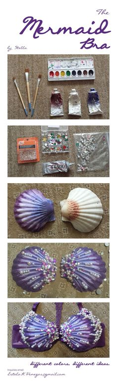 How to make a Mermaid Seashell Bra or just a cute way to decorate sea shells Diy Halloween, Mermaid Parade, Mermaid Diy, Mermaid Crafts, Mermaid Shell Top, Mermaid Crown, Ideias Diy, Arts And Crafts, Diy Crafts