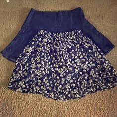 Bundle with two Abercrombie & Fitch skirts One flower skirt which is size S and the other Jean skirt which is size 4. Use to work at Abercrombie but do not anymore. Selling them together! Abercrombie & Fitch Dresses