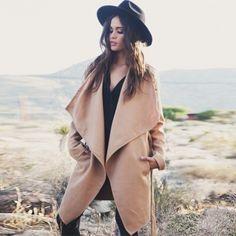 Stylish Ladies Women Winter Drape Collar Coat