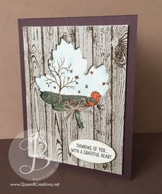 Handmade thank you card made using Stampin Up! Hardwood and Happy Scenes stamp set and the leaves framelit dies