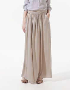 maxi skirt at Zara in nude €69.95